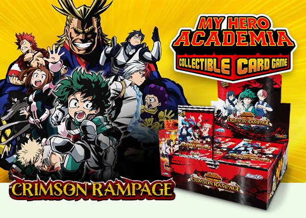 """My Hero Academia Collectible Card Game is getting a 2nd series: """"CRIMSON RAMPAGE"""" was just announced by Jasco Games! The Booster Display will enhance the game with new mechanics and allows player to build new powerful decks around their favourite heroes! The second DLC Pack will launch at the same time. Players can continue their Hero Academia Journey with the MY HERO ACADEMIA COLLECTIBLE CARD GAME: Crimson Rampage booster display box. The new set contains 117 new cards and 20 new character cards, characters like Izuku Midoriya and the class of 1-A, the students of class 1-B, or some Pro Heroes (even some Villains!) will be inside."""