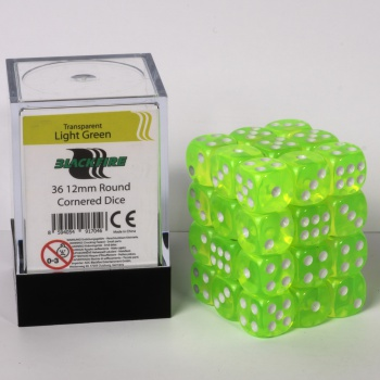 Blackfire Dice Cube - 12mm D6 36 Dice Set - Transparent Light Green