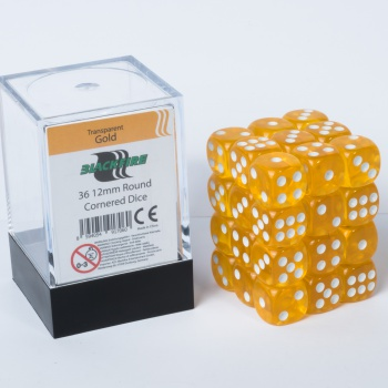 Blackfire Dice Cube - 12mm D6 36 Dice Set - Transparent Gold