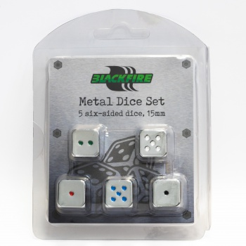 Blackfire Dice - D6 Metal Set of 5