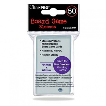 UP - Board Game Sleeves - Euro Mini Size 44x68mm (50 Sleeves)