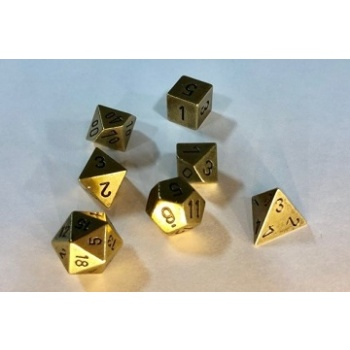 Chessex Specialty Dice Sets - Solid Metal Old Brass Colour Poly 7 die set