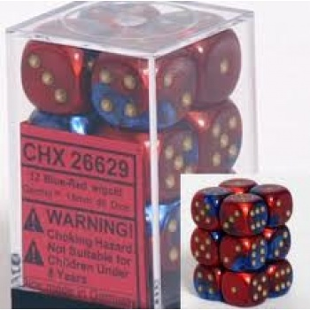 Chessex Gemini 16mm d6 with pips Dice Blocks (12 Dice) - Blue-Red w/gold