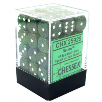 Chessex Speckled 12mm d6 Dice Blocks with Pips (36 Dice) - Recon