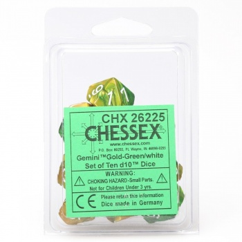 Chessex Gemini Polyhedral Ten d10 Sets - Gold-Green w/white