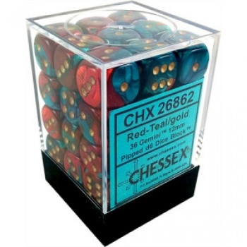 Chessex Gemini 12mm d6 Dice Blocks with pips Dice Blocks (36 Dice) - Red-Teal with gold