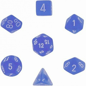 Chessex Frosted 7-Die Set - Blue w/white
