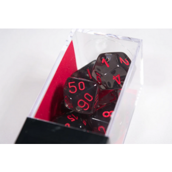 Chessex Translucent Polyhedral 7-Die Set - Smoke/red