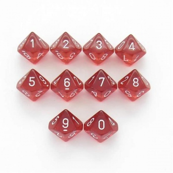Chessex Translucent Polyhedral Ten d10 Set - Red/white