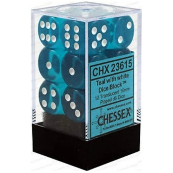 Chessex Translucent 16mm d6 with pips Dice Blocks (12 Dice) - Teal w/white