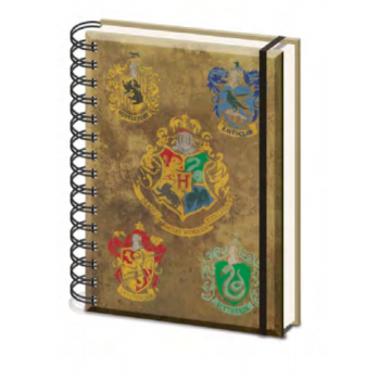 Pyramid A5 Wiro Notebook - Harry Potter (Hogwarts Crest & Four Houses)