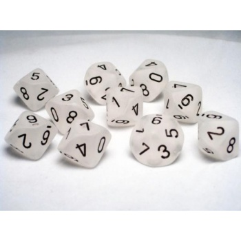 Chessex Ten D10 Sets - Frosted Clear w/black