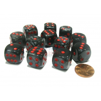Chessex 16mm d6 with pips Dice Blocks (12 Dice) - Velvet Black w/red