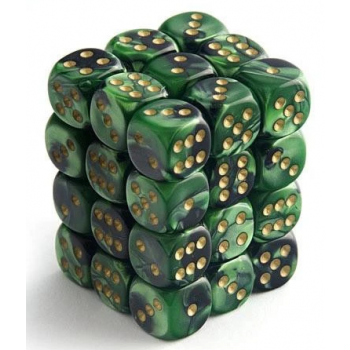 Chessex Signature 12mm d6 with pips Dice Blocks (36 Dice) - Scarab Jade w/gold