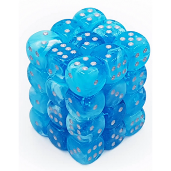 Chessex Signature 12mm d6 with pips Dice Blocks (36 Dice) - Luminary Sky/silver 12mm