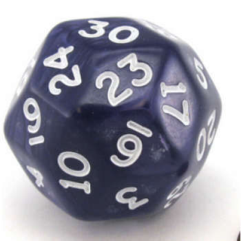 Chessex Pearlescent 30-Sided Dice Purple/White