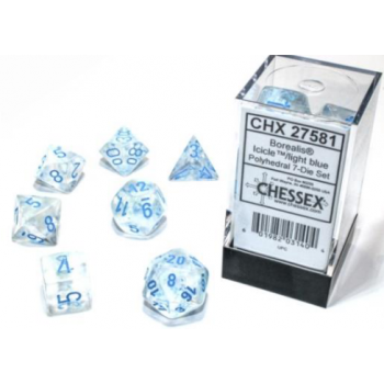 Chessex Borealis 12mm d6 Icicle/light blue Luminary Dice Block (36 dice)