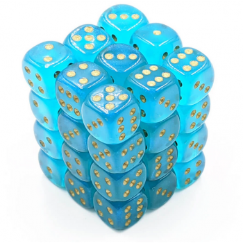 Chessex Borealis 12mm d6 Teal/gold Luminary Dice Block (36 dice)