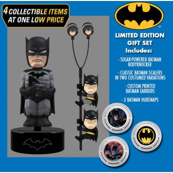 DC Comics Classic - Batman Solar Powered Body Knocker 15cm Limited Edition Gift Set incl. Earbugs Scalers & Hubsnaps