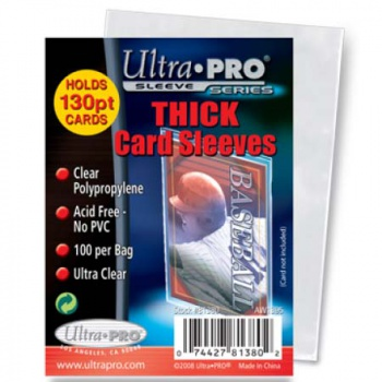 "UP - Standard Sleeves - 2-1/2"" X 3-1/2"" Thick Card Sleeves (100 Ct)"