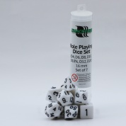 Blackfire Dice - 16mm Role Playing Dice Set - White (7 Dice)