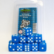 Blackfire Dice - 16mm D6 Dice Set - Blue (15 Dice)