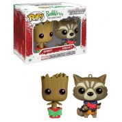 Funko POP! Marvel Guardians - Christmas Groot & Rocket Raccoon 2-Pack Mini Wobblers limited