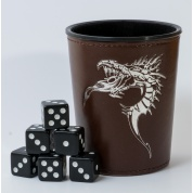 Blackfire Dice - Dice Cup - Brown /w Dragon Emblem