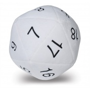 UP - Dice - Jumbo D20 Novelty Dice Plush in White with Black Numbering