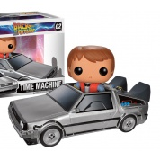 Funko POP! - Back To The Future - Delorean Car & Marty Action Figures Set 8-inch & 4-inch Scale