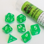 Blackfire Dice - 16mm Role Playing Dice Set - Crystal Green (7 Dice)