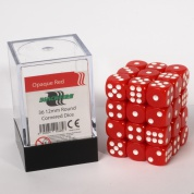 Blackfire Dice Cube - 12mm D6 36 Dice Set - Opaque Red