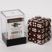 Blackfire Dice Cube - 12mm D6 36 Dice Set - Opaque Brown