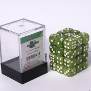 Blackfire Dice Cube - 12mm D6 36 Dice Set - Marbled Grass Green
