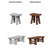 WizKids Deep Cuts Unpainted Miniatures - Wooden Table & Stools (6 Units)