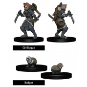 WizKids Painted Miniatures: Girl Rogue & Badger (6 Units)