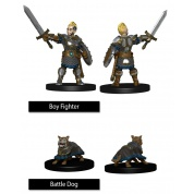 WizKids Painted Miniatures: Boy Fighter & Battle Dog (6 Units)