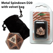 Blackfire Dice - D20 Metal with velvet bag - Antique Copper