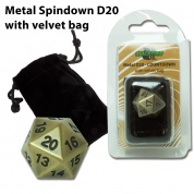 Blackfire Dice - D20 Metal Spindown with velvet bag - Antique Gold