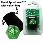 Blackfire Dice - D20 Metal Spindown with velvet bag - Green