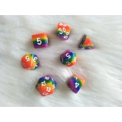 Blackfire Dice - 16mm Role Playing Dice Set - Rainbow Dice (7 Dice)