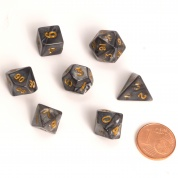 Blackfire Dice - Fairy Dice RPG Set - Marbled Black (7 Dice)