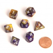 Blackfire Dice - Fairy Dice RPG Set - BiColor Yellow Purple (7 Dice)