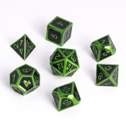 Blackfire Dice - Metal Dice Set - Edged Green (7 Dice)