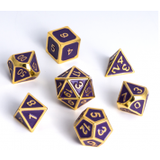 Blackfire Dice - Metal Dice Set - Edged Purple (7 Dice)