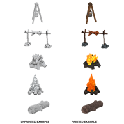 WizKids Deep Cuts Unpainted Miniatures - Camp Fire & Sitting Log (6 Units)