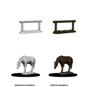 WizKids Deep Cuts Unpainted Miniatures - Horse & Hitch (6 Units)