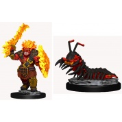 WizKids Wardlings Painted Miniatures: Fire Orc & Fire Centipede (6 Units)