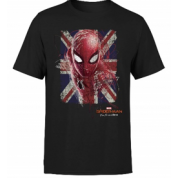 Spider Man Far From Home British Flag Men's T-Shirt - Black - XL