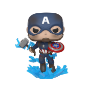 Funko POP! Endgame - Capt A w/Broken Shield & Mjolnir Vinyl Figure 10cm